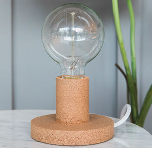 Cork Exposed Bulb Table Lamp