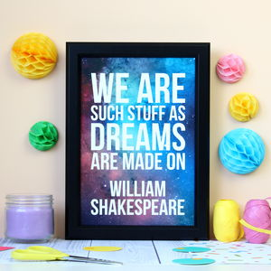 Dreams William Shakespeare Galaxy Print
