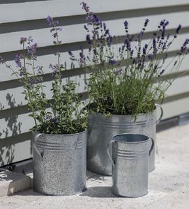 Set Of Three Galvanised Steel Garden Planters