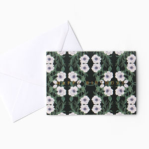 Anemone Floral Pattern Birthday Card - new in