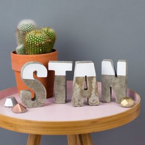 Personalised Colour Block Concrete Letters - gifts for babies