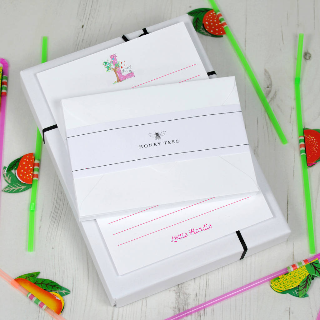 Childrens Personalised Writing Paper Set Alphabet By Honey