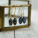 Black Fire Opal Earrings