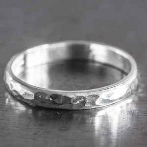 Personalised Sterling Silver 4mm Hammered D Shape Ring