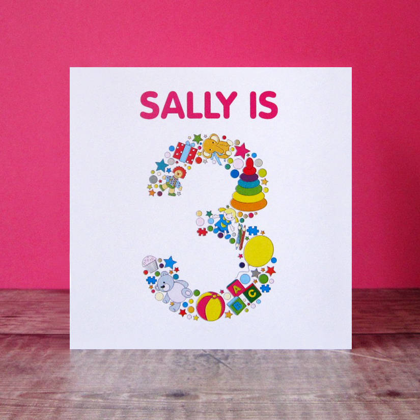Sally is 3 years old personalised birthday card