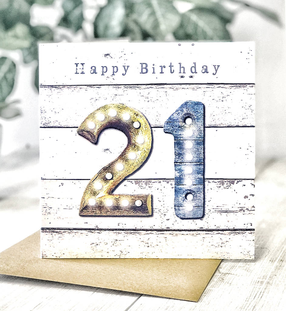 21st Birthday Vintage Letters Male Greeting Card