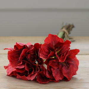 Artificial Red Amaryllis Flower Bunch - flowers & chocolates with a twist