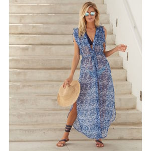 Tara Long Beach Kaftan Zanzibar Blue Print