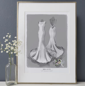 Illustrated Wedding Dress Illustration Portrait