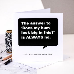 Birthday Card For Men 'The Answer Is Always No'