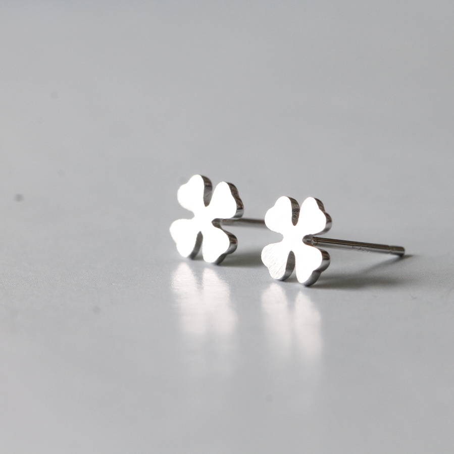 Silver Four Leaf Clover Ear Studs