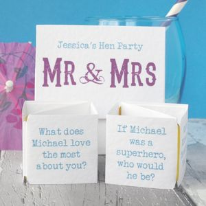 Personalised Hen Party 'Mr And Mrs' Game