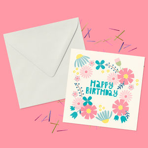 Botanical Happy Birthday Wreath Greeting Card