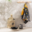 Yellow And Charcoal Grey Tea Towel 'Nomad Splash'