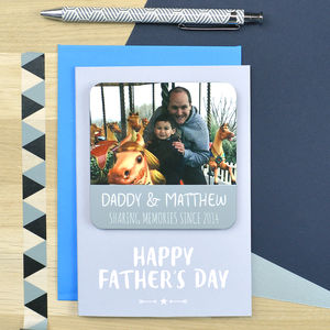 Fathers Day Coaster Card For Daddy 'Sharing Memories' - personalised