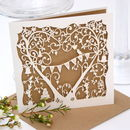Garden Party Wedding Laser Cut Card In Eco Craft