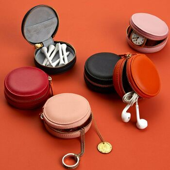 Personalised Luxury Round Leather Accessories Case