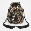Vegas Art Deco Embellished Bucket Bag In Black Gold