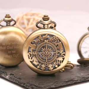Personalised Bronze Pocket Watch Compass Design
