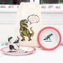 Dinosaur Dinner Set With Personalised Bag