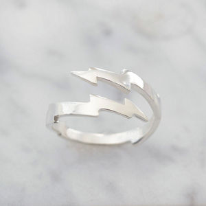 Sterling Silver Lightning Bolt Wrap Ring - rings