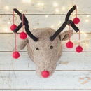Grey Reindeer Head With Red Pom Poms