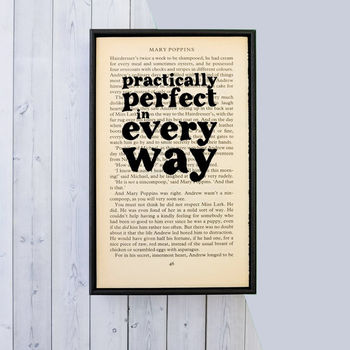 'Practically Perfect' Mary Poppins Quote Book Page Print