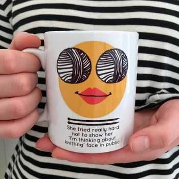 'Thinking Knitting Face' Knitting Mug