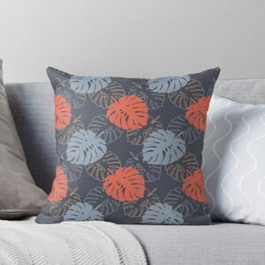 Tropical Leaf Cushion In Blue Grey And Coral