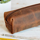 Personalised Buffalo Leather Square Pencil Case