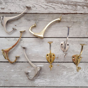 Copper, Antique Silver Or Brass Double Wall Hook - baby & child sale
