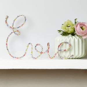Personalised Name Sign Liberty Fabric And Wire - room decorations