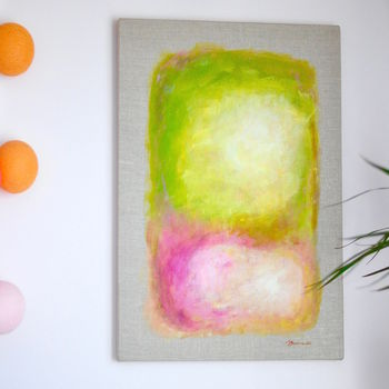 Original Abstract Painting On Natural Linen Canvas