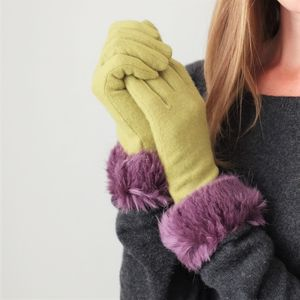 Faux Fur Trimmed Wool Gloves - women's accessories