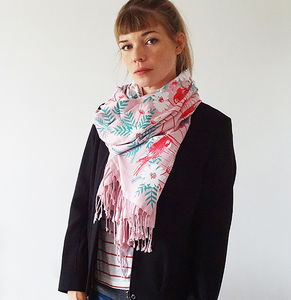 Limited Edition Indian Summer Print Scarf Pink