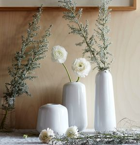 White And Grey Vases - dining room