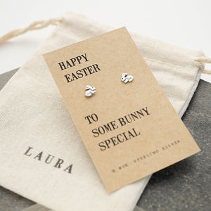 Easter Gift Bunny Silver Earrings - earrings