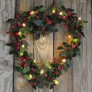 Frosted Red Berry Festive Heart Wreath