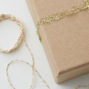 Mini Gold Tinsel Ribbon And Butchers Twine Wrapping Kit - home