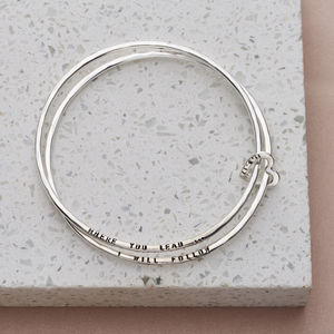 Personalised Double Bangle With Heart - bracelets & bangles
