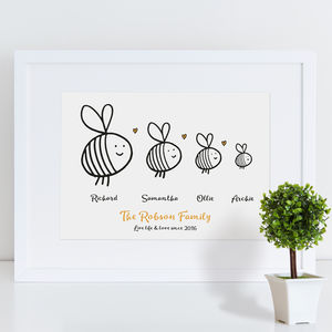 Personalised Bee Family Print - dates & special occasions