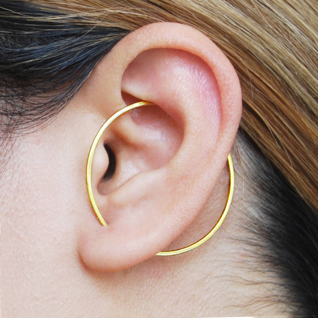Gold Circle Round Geometric Hoop Earrings By Otis Jaxon