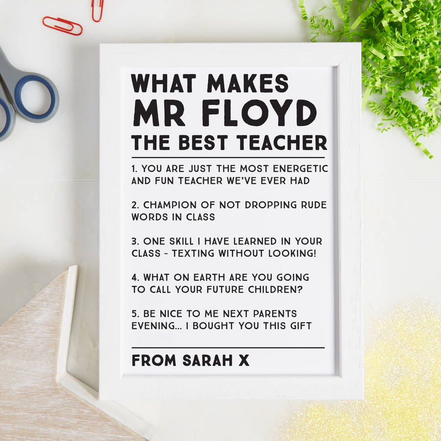 Personalised Best Things About Our Teacher Print