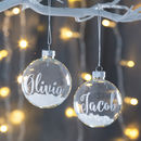 Personalised White Glass Snow Bauble