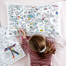 World Map Pillowcase Kit + 10 Pens, Colour And Learn
