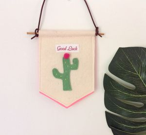 Cactus Good Luck Hanging Mini Banner
