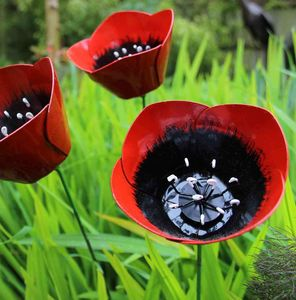Poppy Handmade Recycled Metal Garden Sculpture - art & decorations