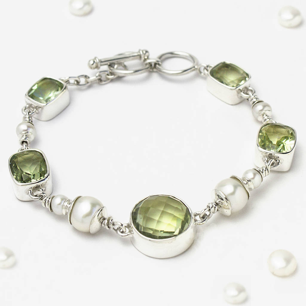 Sterling Silver Green Amethyst And Pearl Bracelet By