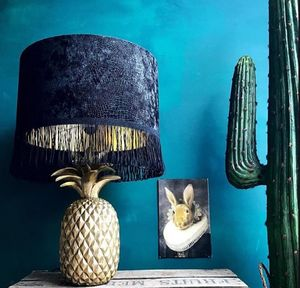 Black Crocodile Skin Velvet Lampshade With Gold Lining