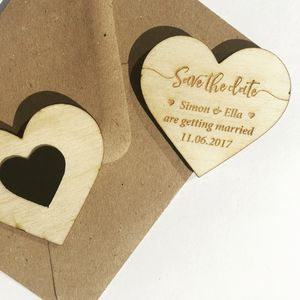 Brush Script Save The Date Wooden Heart Magnet
